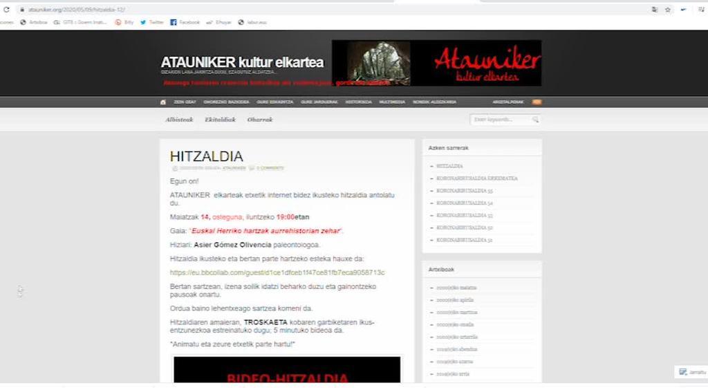 Historiaurreko hartzari buruzko online hitzaldia antolatu  du Ataunikerrek ostegunerako