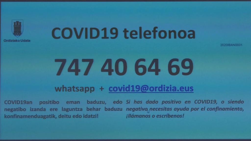 Martxan da Ordizian COVID-19 telefonoa positibo eman duten herritarrei edota konfinatuak daudenei laguntzeko
