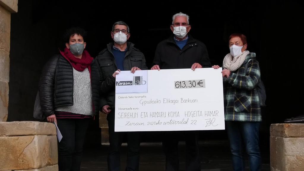 Zeraingo Olentzero solidarioa ekintzan bildutako 613 euro Gipuzkoako Elikagaien Bankura bideratuko dituzte