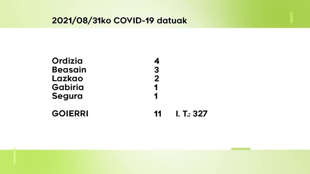 11 COVID-19 kasu aurkitu dituzte asteartean Goierrin