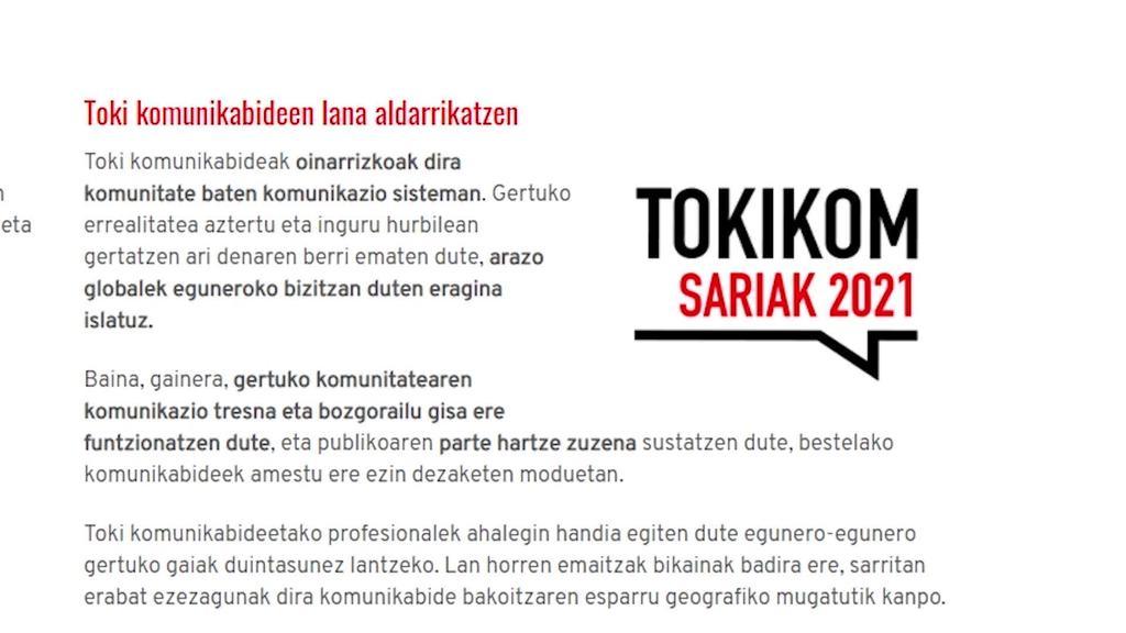 """Goierri Irrati Telebista TOKIKOM sariko finalisten artean dago """"Ateak itxi, leihoak ireki"""" lanarekin"""