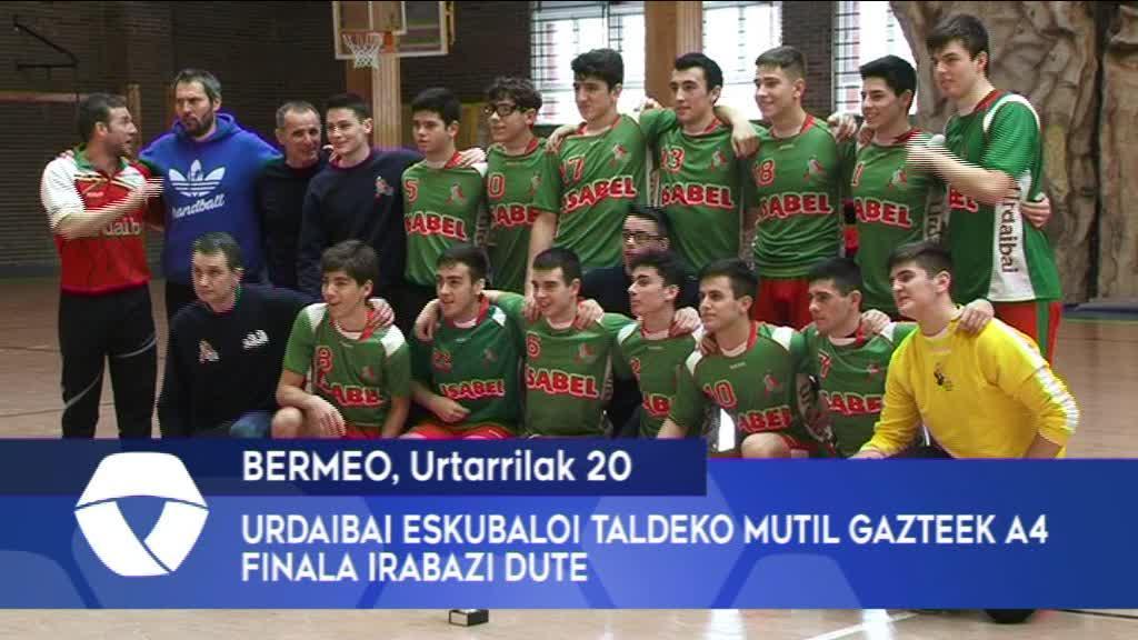 Urdaibai Eskubaloi Taldeko mutil gazteek A4 finala irabazi dute