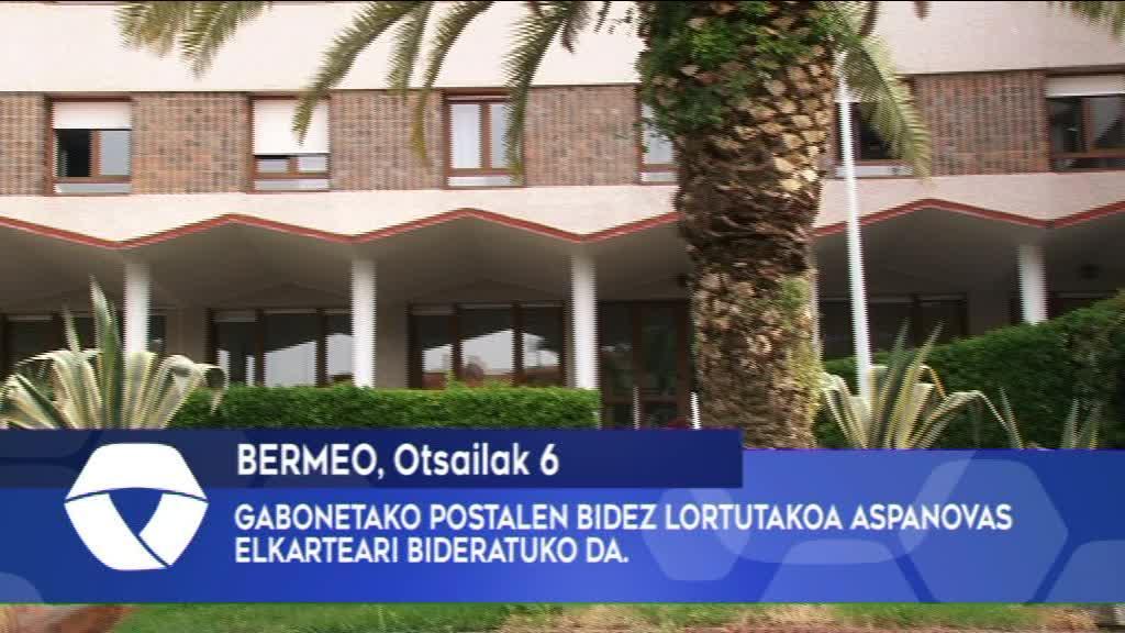 GABONETAKO POSTALEN BIDEZ LORTUTAKOA ASPANOVAS ELKARTEARI BIDERATUKO DA.