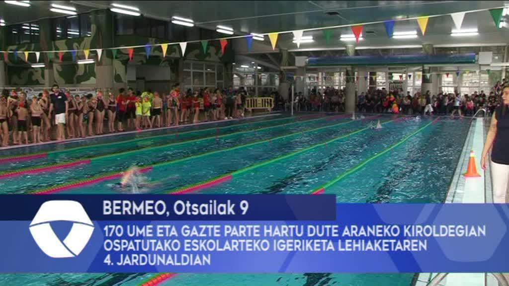 170 ume eta gazte parte hartu dute Araneko Kiroldegian ospatutako Eskolarteko Igeriketa Lehiaketaren 4. jardunaldian