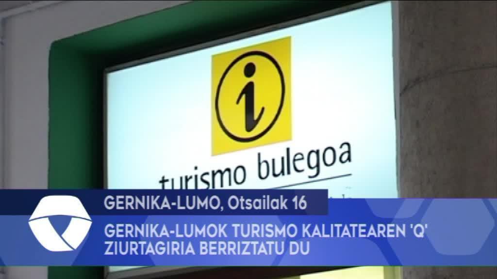 Gernika-Lumok Turismo Kalitatearen Q ziurtagiria berriztatu du