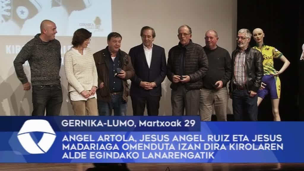 Angel Artola, Jesus Angel Ruiz eta Jesus Madariaga omenduta izan dira Gernika-Lumon kirolaren alde egindako lanarengatik