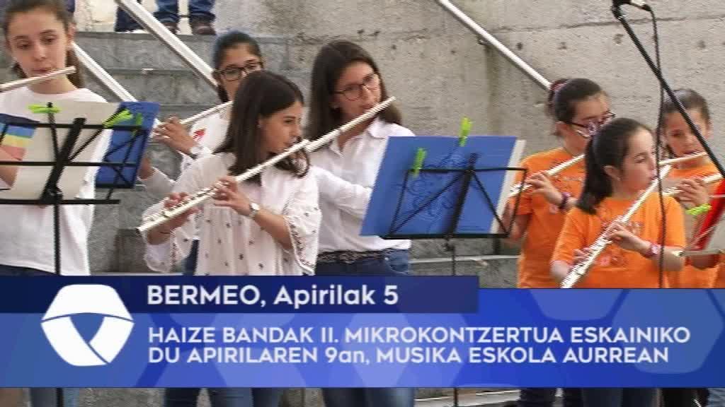 Haize bandak II. mikrokontzertua eskainiko du apirilaren 9an Bermeoko Musika Eskola aurrean