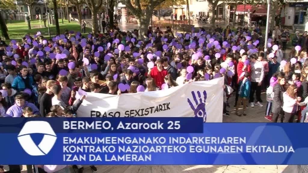 Emakumeenganako Indarkeriaren kontrako Nazioarteko egunaren ekitaldia izan da Bermeoko Lameran