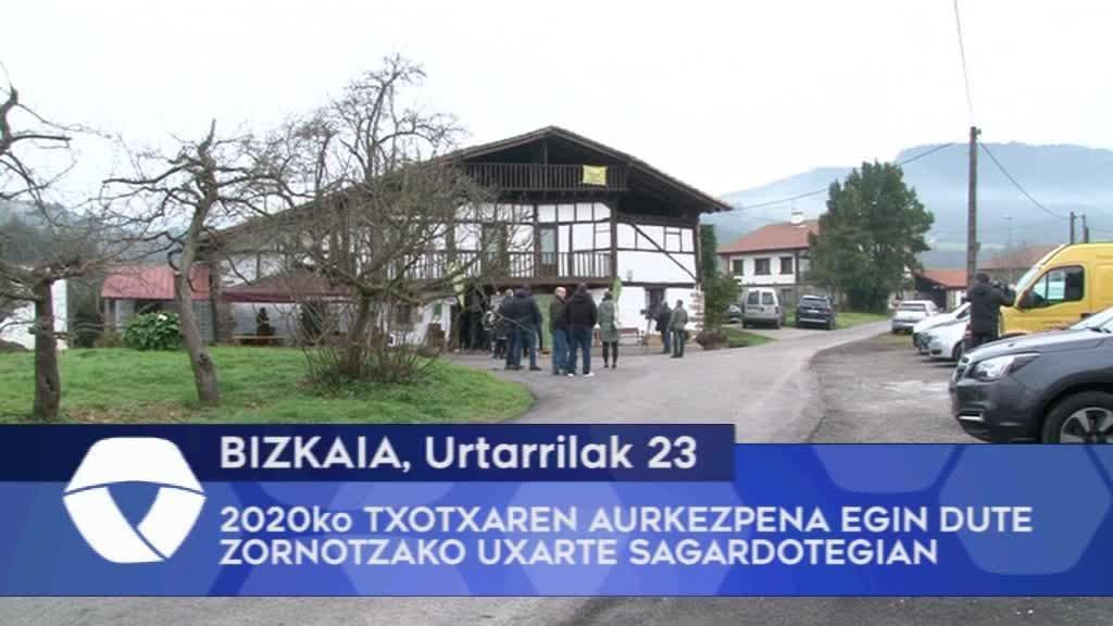 2020ko Bizkaiko Txotxaren aurkezpena egin dute Zornotzako Uxarte sagardotegian