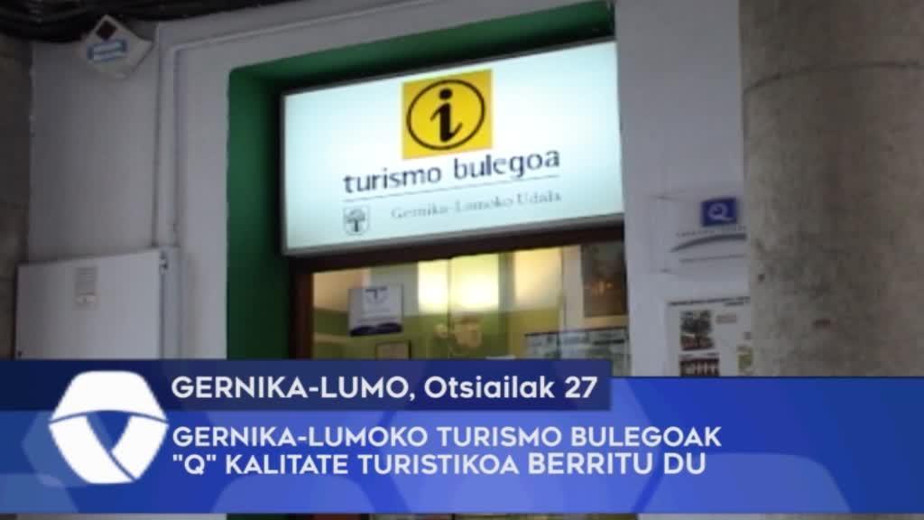 """Gernika-Lumoko Turismo bulegoak """"Q"""" Kalitate Turistikoa berritu du"""