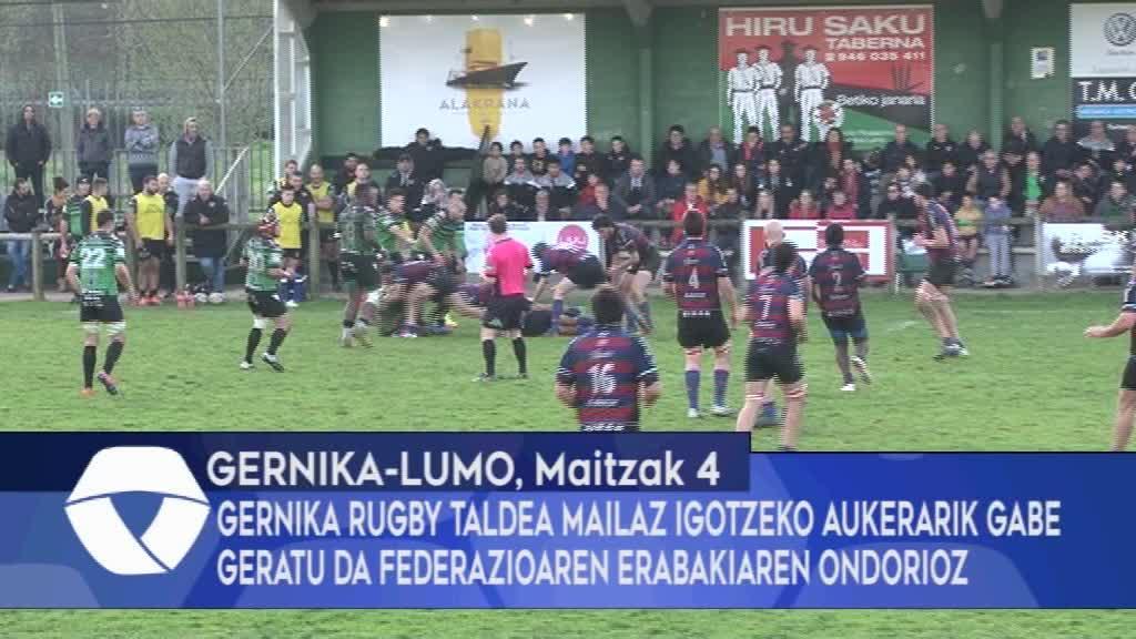 Gernika Rugby Taldea mailaz igotzeko aukerarik gabe beratu da federazioaren erabakiaren ondorioz