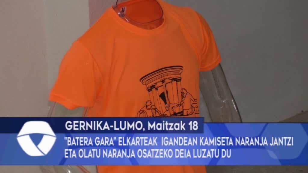 """""""Batera Gara"""" elkarteak igandean kamiseta naranja jantzi eta olatu naranja osatzeko deia luzatu du"""