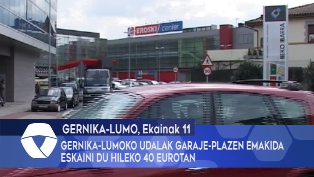 Gernika-Lumoko Udalak garaje-plazen emakida eskaini du hileko 40 eurotan