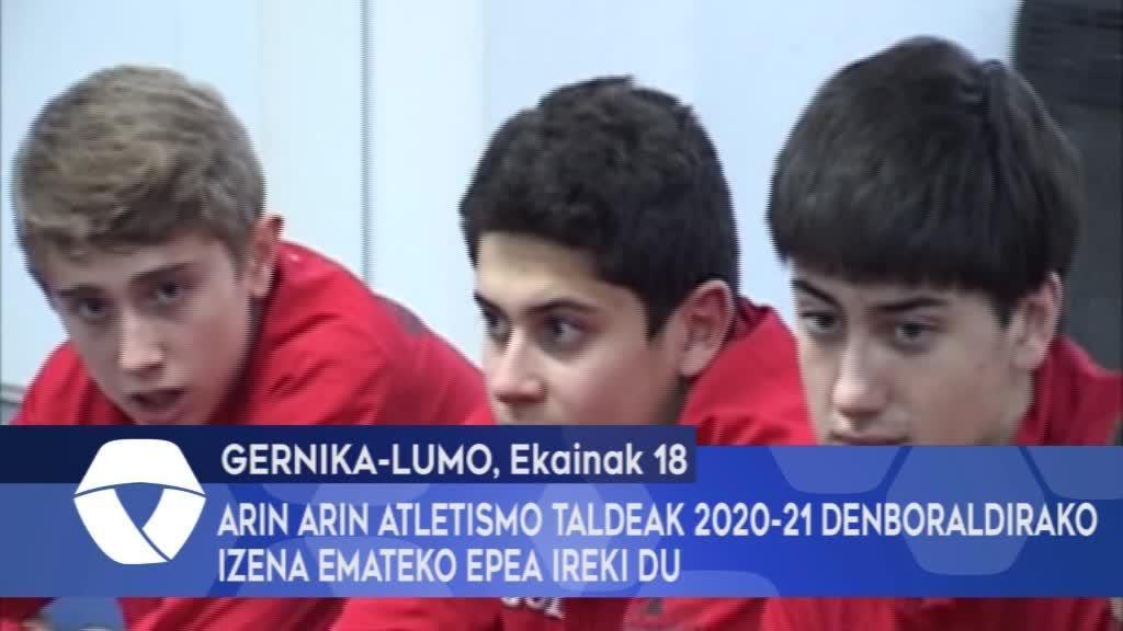 Arin Arin Atletismo Taldeak 2020-21 denboraldirako izena emateko epea ireki du
