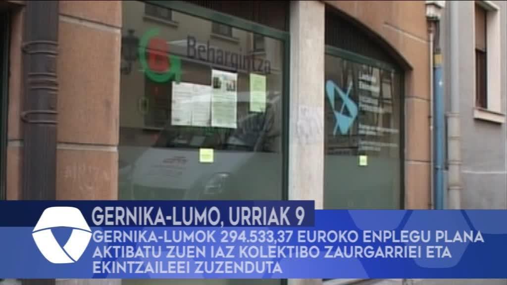 Gernika-Lumok 294.533,37 euroko enplegu plana aktibatu zuen iaz kolektibo zaurgarriei eta ekintzaileei zuzenduta