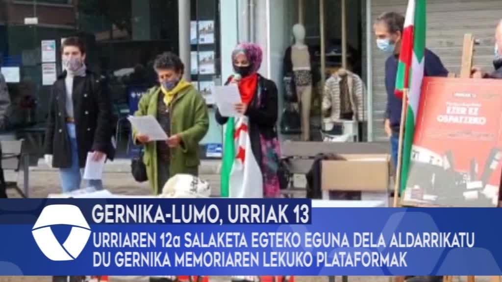 Urriaren 12a salaketa egiteko eguna dela aldarrikatu du Gernika Memoriaren Lekuko plataformak