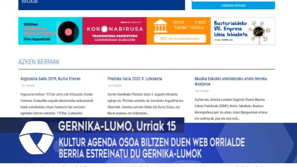 Kultur agenda osoa biltzen duen web orrialde berria estreinatu du Gernika-Lumok