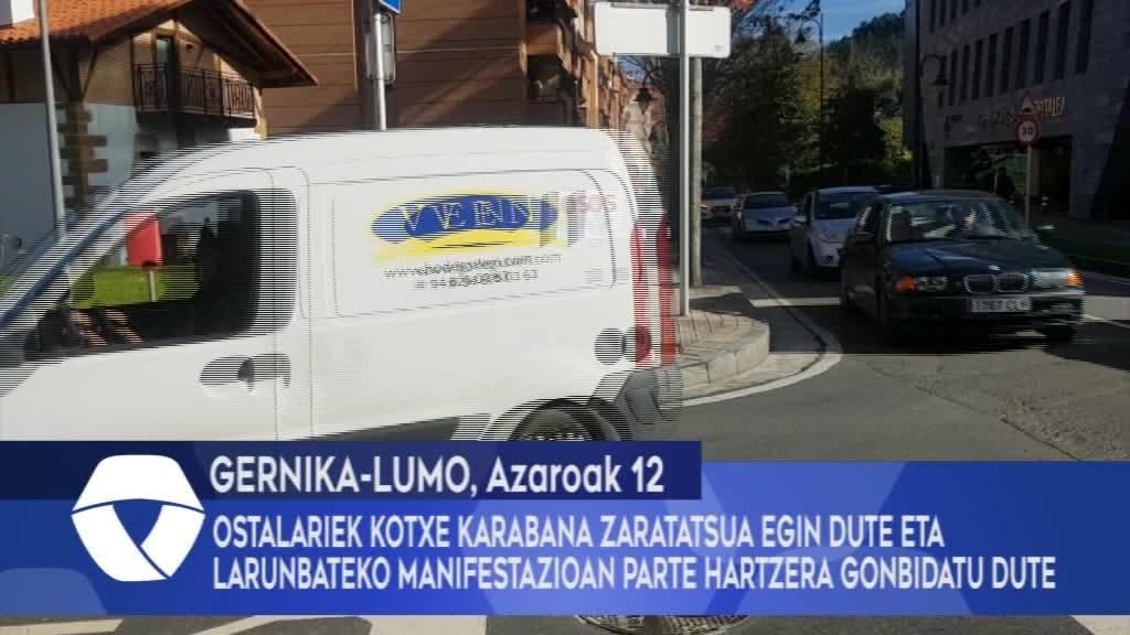 Gernika-Lumoko ostalariek kotxe karabana zaratatsua egin dute eta larunbateko manifestazioan parte hartzera gonbidatu dute