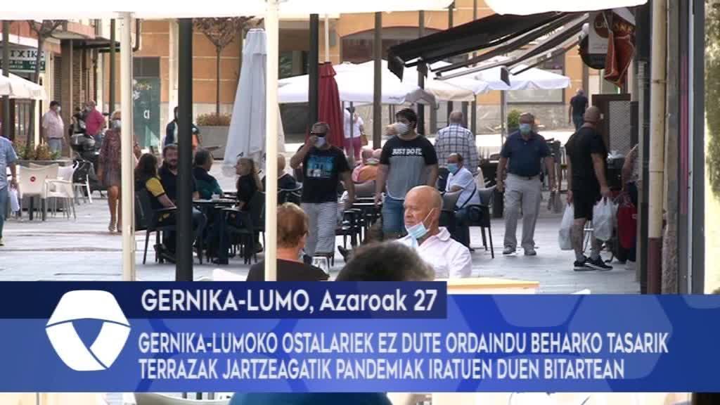 Gernika-Lumoko ostalariek ez dute ordaindu beharko tasarik terrazak jartzeagatik pandemiak iratuen duen bitartean
