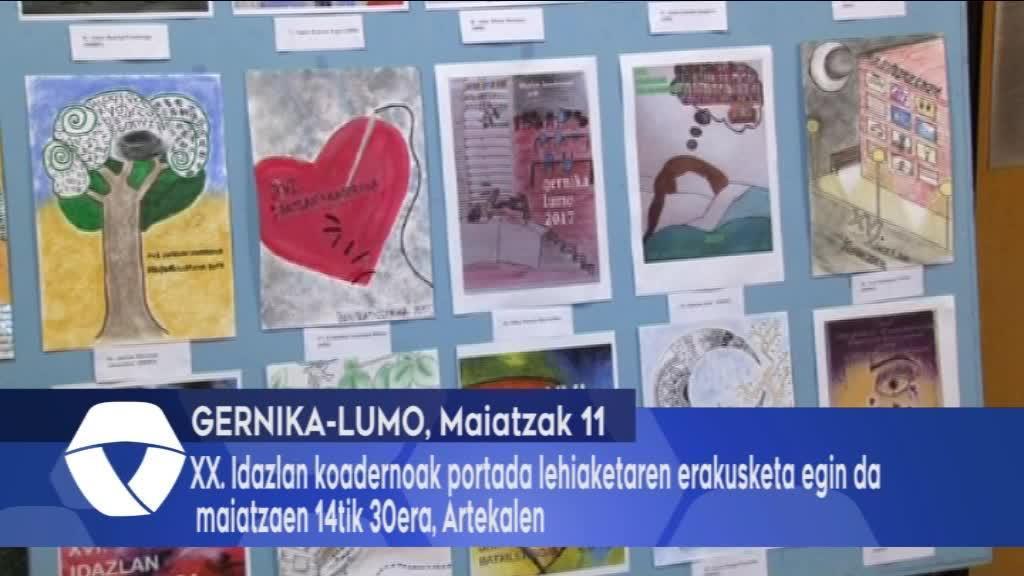 XX. Idazlan koadernoak portada lehiaketaren erakusketa egin da maiatzaren 14tik 30era, Artekalen