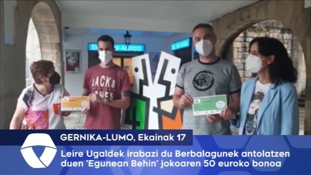 Leire Ugaldek irabazi du Gernika-Lumoko Berbalagunek antolatzen duen Egunean Behin jokoaren 50 euroko bonoa