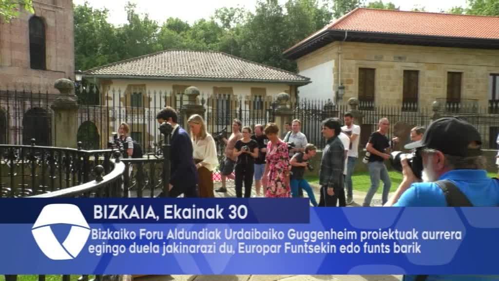 Bizkaiko Foru Aldundiak Urdaibaiko Guggenheim proiektuak aurrera egingo duela jakinarazi du, Europar Funtsekin edo horiek barik
