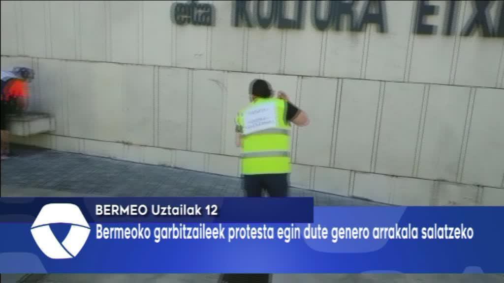 Bermeoko garbitzaileek protesta egin dute genero arrakala salatzeko