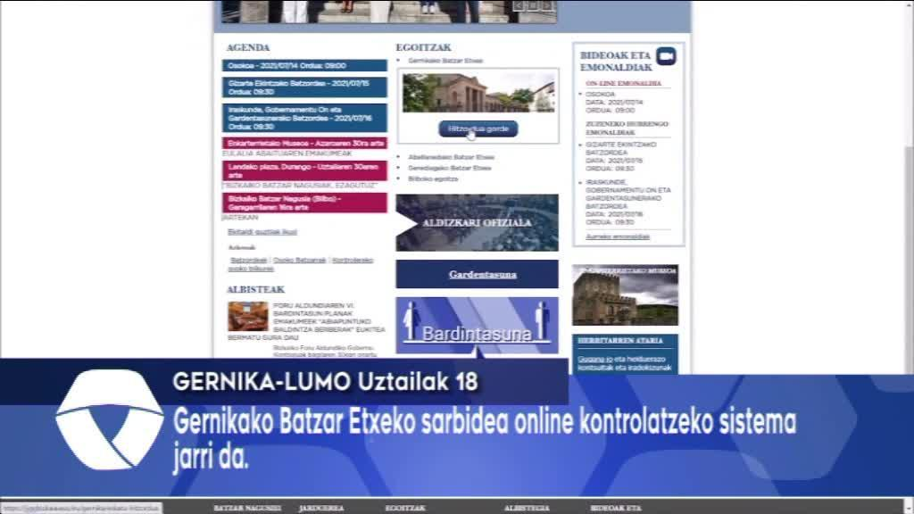 Gernikako Batzar Etxean sarbidea online kontrolatzeko sistema jarri da