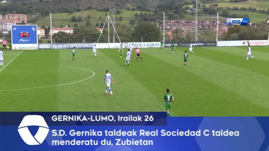 S.D. Gernika taldeak Real Sociedad C taldeari irabazi dio, Zubietan