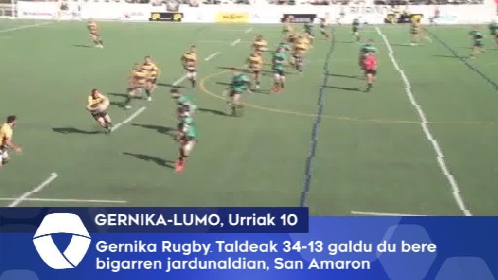 Gernika Rugby Taldeak galdu egin du bigarren jardunaldian, San Amaron