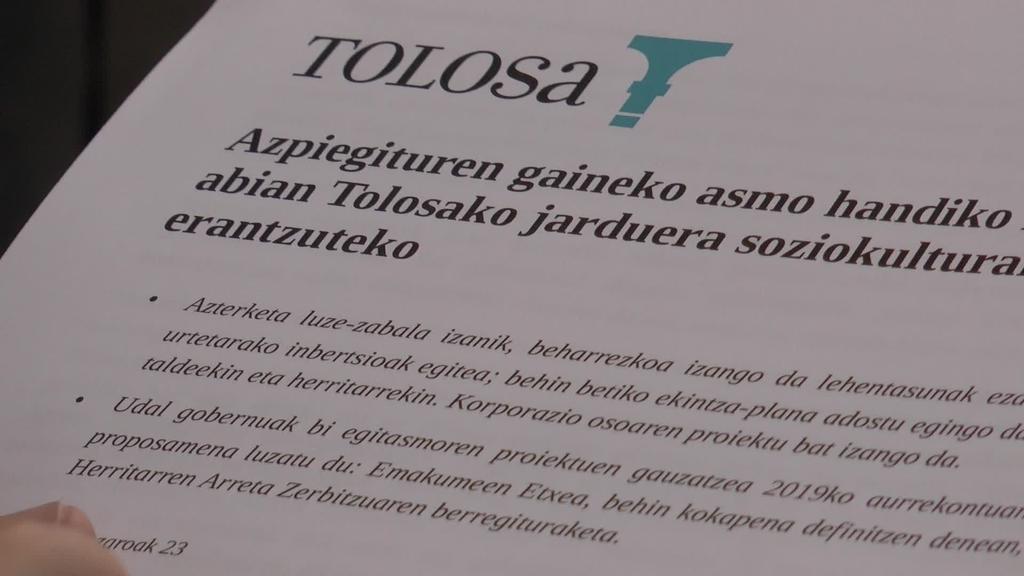 Tolosako Udalak,  Tolosako azpiegitura soziokulturalen  inguruan egindako azterketaren berri eman du