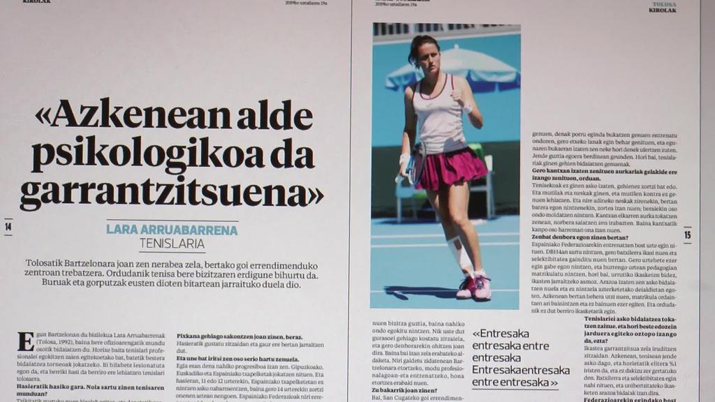 Lara Arruabarrena tenislariaren elkarrizketa ekarri du  azalera astekariak
