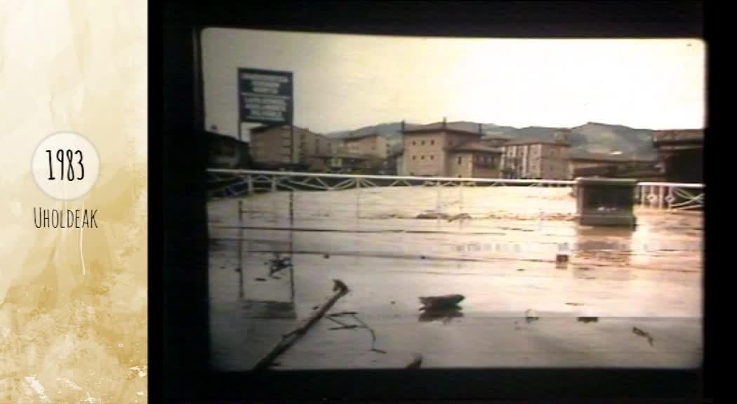1983an Azpeitian eta Azkoitian izandako uholdeen irudiak