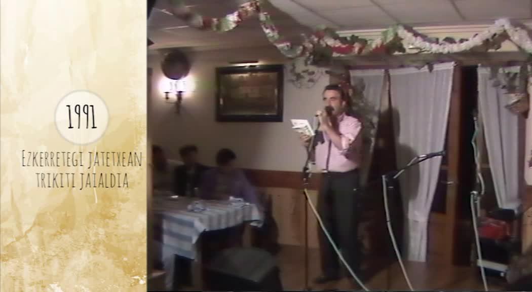 Atzera Begira Ezkerretegi jatetxean trikiti jaialdia 1991