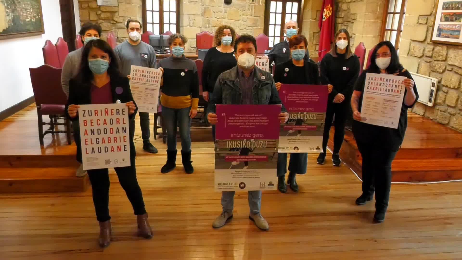 Udaleko ordezkariek adierazpen instituzionala egin dute emakumeen aurkako indarkeria ezabatzeko egunean